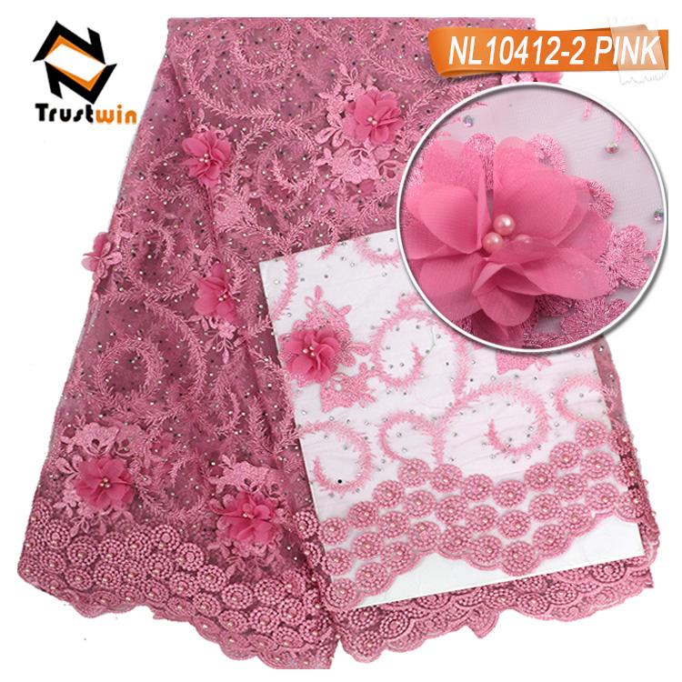 High quality new french lace peach color stone fabric