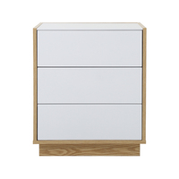 High gloss white and wood grain 3 drawers chest storage cabinet