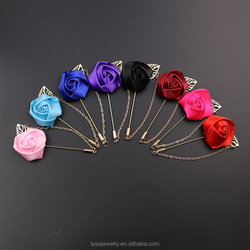 Multicolor available men brooch rose flower lapel pin with chain for men suits BRL0309
