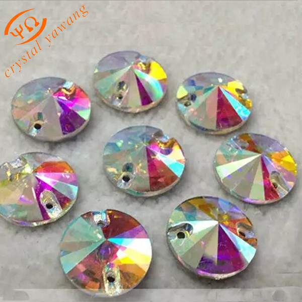 Wholesale round rivoli glass sew on rhinestone <strong>crystal</strong> sew on for clothing