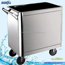 Mobile Stainless Steel Food Service Cart with Wheels/Snack Trolley
