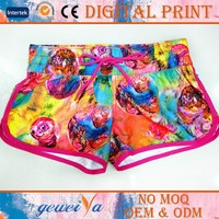 Digital Printing Polyester Peach Skin Custom Beach Girls Shorts