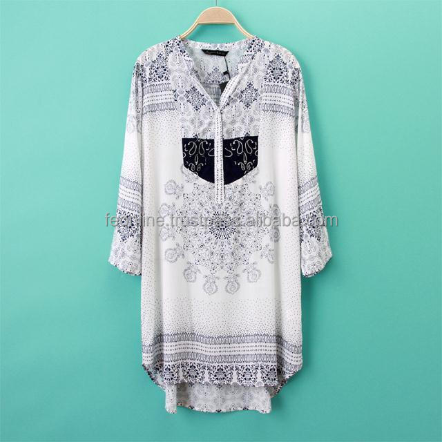New European 2014 Style Women Cotton 3/4 Sleeves Printed Dress