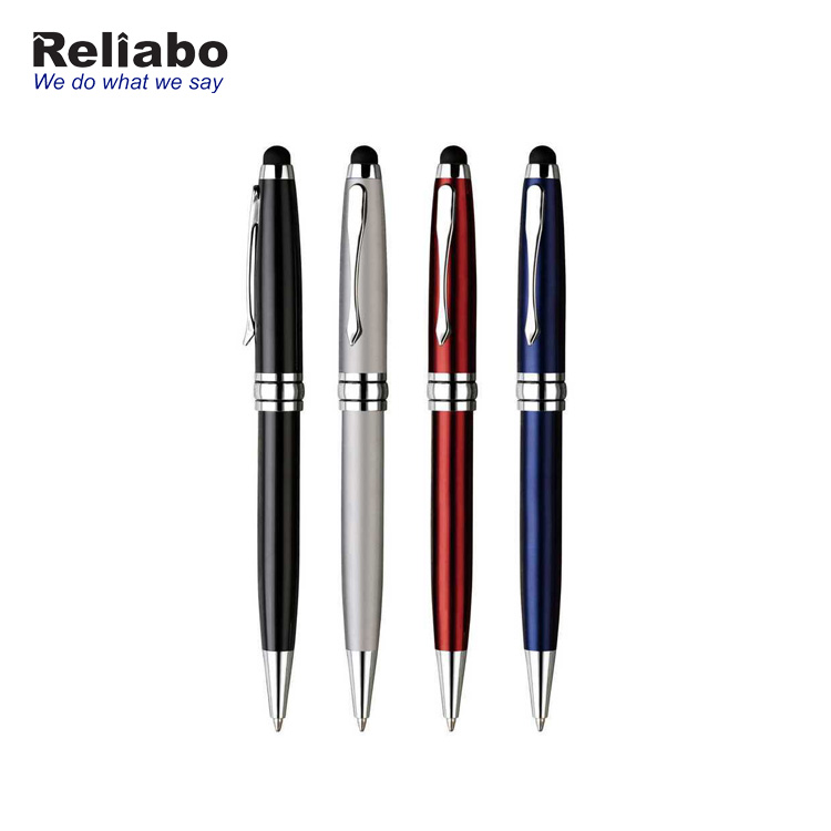 Reliabo Promotional Custom Printing 2 IN 1 Metal Ballpoint Capacitive Stylus Touch Pen For Laptop