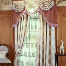 Hot selling cheap jacquard european style luxury window curtains with valance