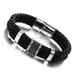 Fashionable Jewelry Magic Leather Bracelet Stainless Steel Bracelet