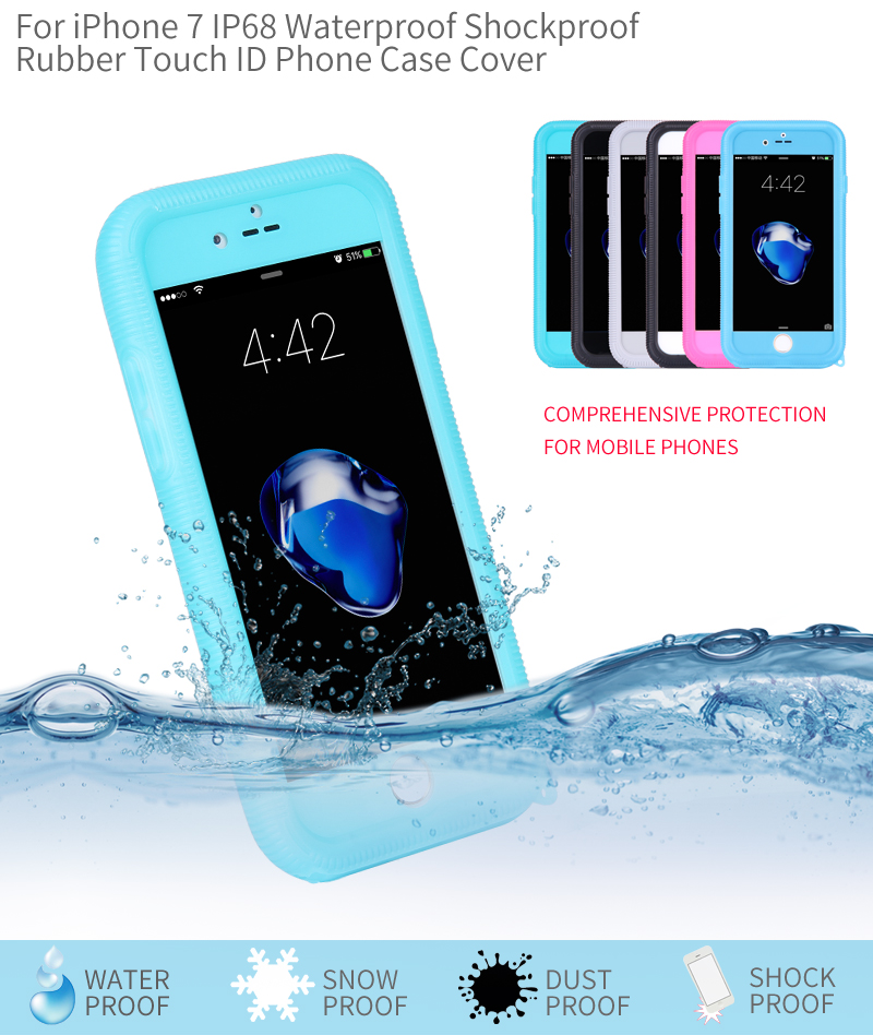 2017 Hot New Products Waterproof Mobile Phone Tpu Case Cover Water Proof Shockproof Facotry Wholesale For Iphone 6 7 Plus