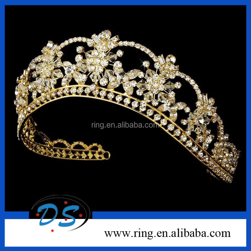 Excellent Quality Gold Princess Bridal Wedding Tiara Crown With Austrian Rinestone Crystal