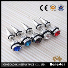 Fashion stainless steel Gems Fake Ear Taper Illusion Cheater Plugs ear piercing jewelry