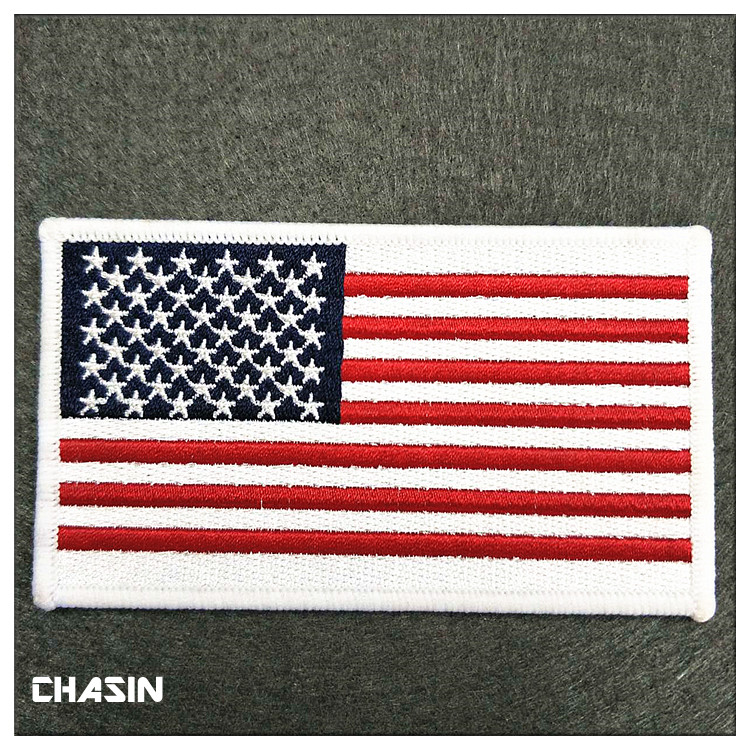 custom american flag applique embroidery patches for clothing