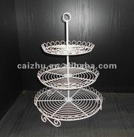 White 3-tier Round Shape Wire Cupcake Stand Cake Display Rack