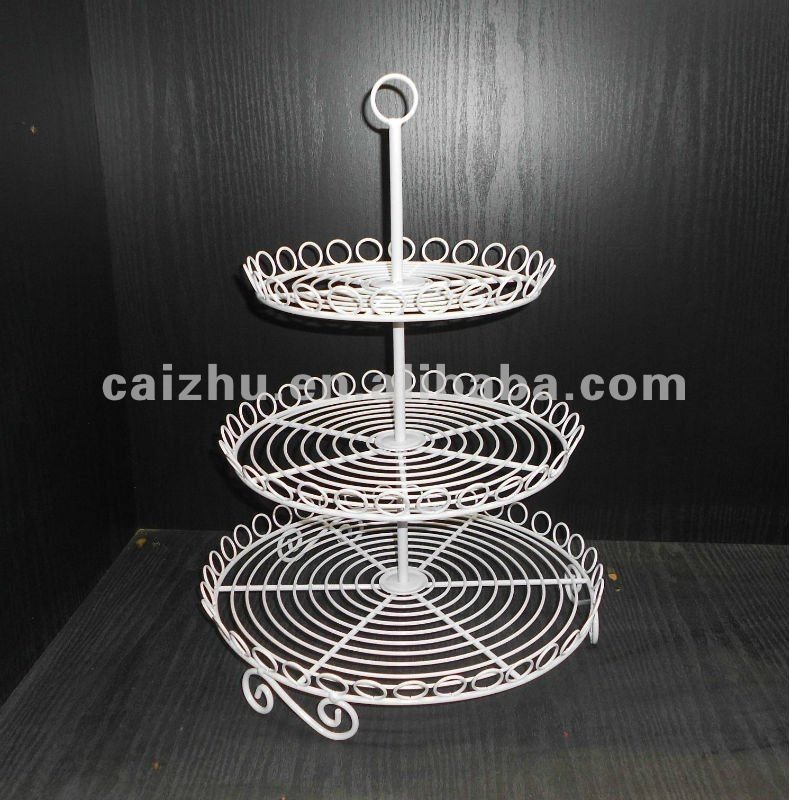 White 3-tier Round Shape Wire Cupcakes dessert Stand Cake Display Rack