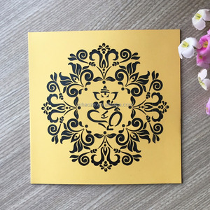 Laser Cut Seated Ganesh Buddha Deity Elephant Hindu Pattern Wedding Birthday Invitation Greeting card Qj-297