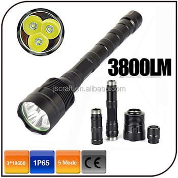 Waterproof extend tube 3pc xml t6 led high power rechargeable led 3800 lumen flashlight