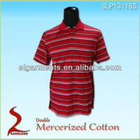 Mens 100% Pima Cotton Textured Stripe Golf Polo Shirt