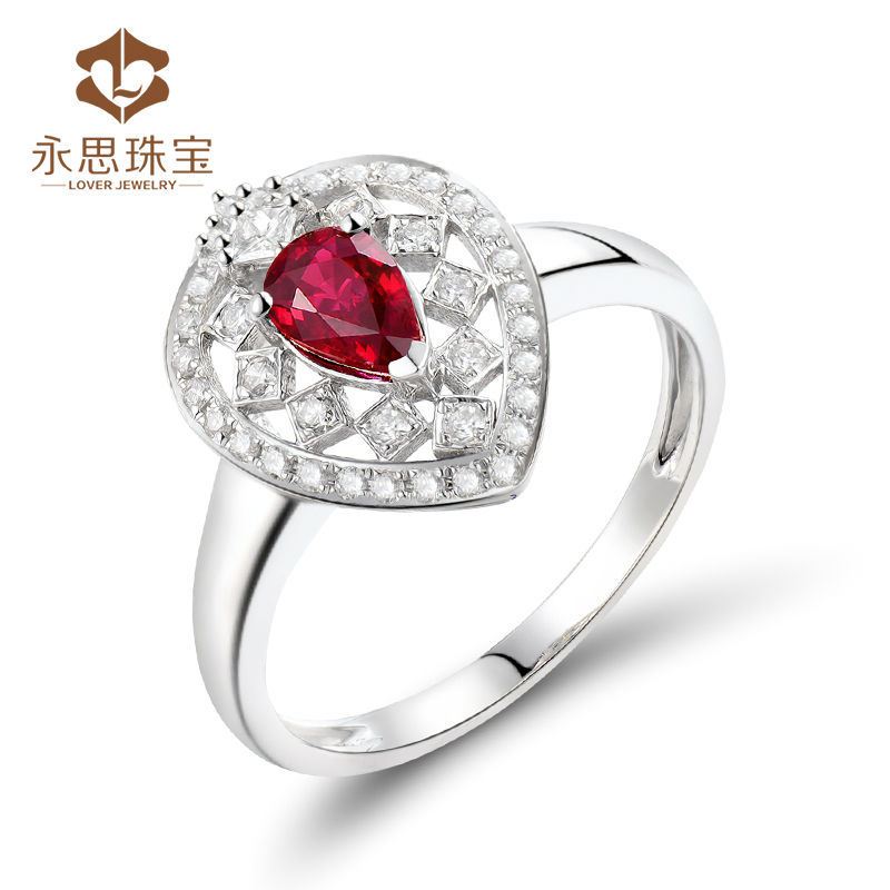 100% Real Ruby Crown Ring,18K White Gold Natural Ruby Diamond Ring For Anniversary WU291
