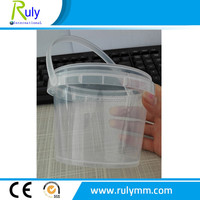 Sealed 500ml clear plastic bucket for food packaging and storage container