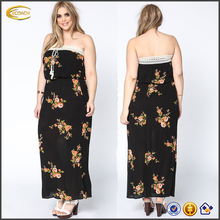 Wholesale 2016 indian dress design patterns women plus size floral crochet dress with strapless insides empire waist long dress