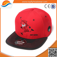 Wholesale promotional flexfit snapback caps/custom-made red flat brim fashion snapback cap/Flat embroidery snapback hats