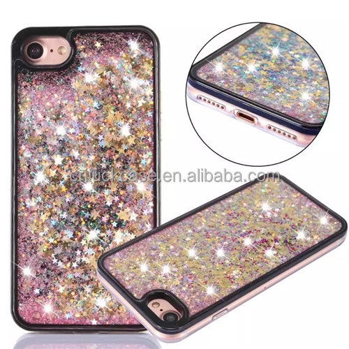 Korea moving bling stars with diamond cool quicksand phone case for Iphone 7plus