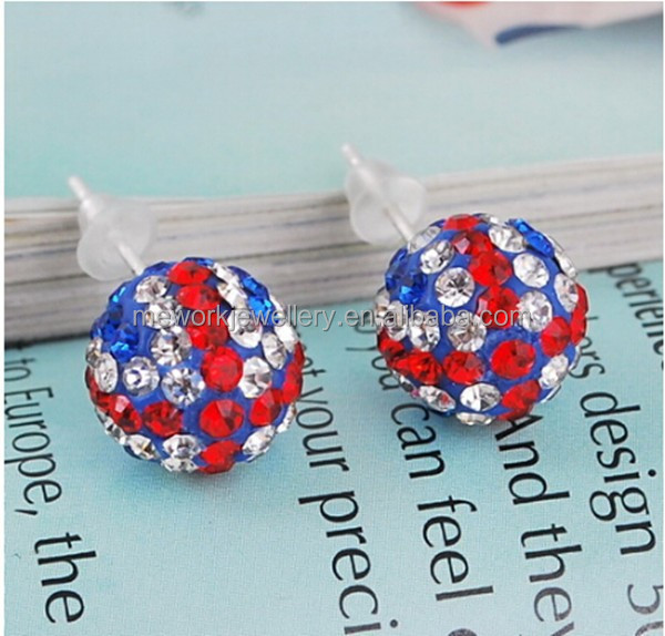Cheap nice UK flag design diamonds dollar sign earrings