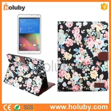 Flowers Cloth texture Wallet Style Magnetic Flip Stand PC+PU Case for Samsung Galaxy Tab S2 9.7 T810