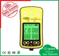 Portable 4 Gas Detector/gas monitor with pump for CO, H2S, methane and O2