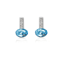 Oval Crystal Double Channel Setting Stick Earring For Women