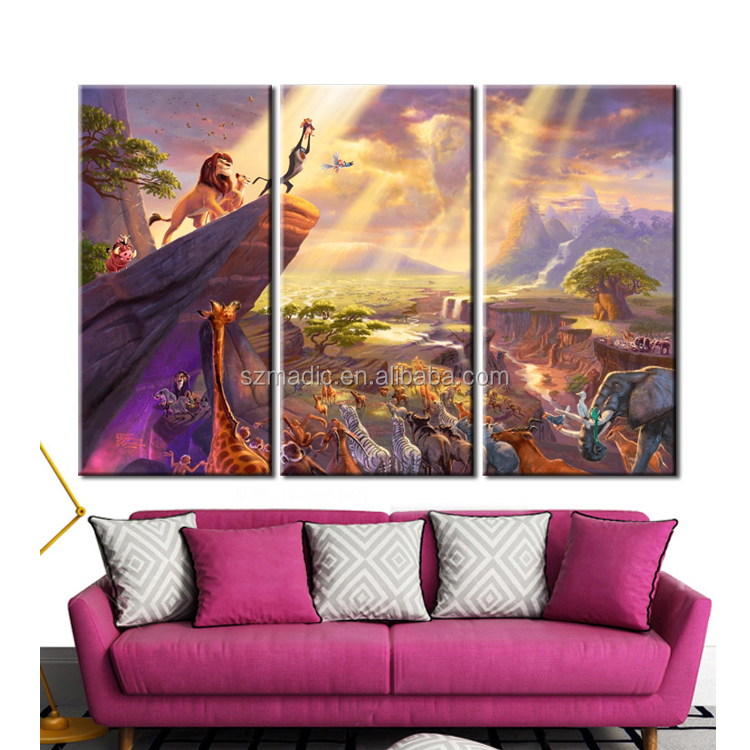 Abstract Art Canvas Pictures for Living Room 3 Panel Lion King Thomas Kinkade Abstract Modern Oil Painting Giclee Arts