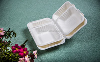 disposable 3-compartment biodegradable food container