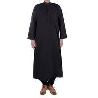 Popular Qatar Style Men Islamic Saudi Thobe In Black