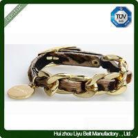 Fashion Horse Hair Leather Metal Bracelet for Women