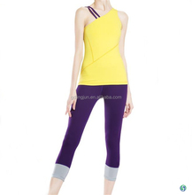 Latest design sportswear suit yellow yoga bra with laceness in the back for women