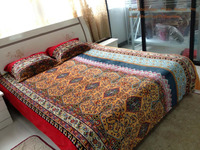 3pcs colorful Indian style flannel bed set