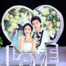 Top selling fashion love shape sublimation funny crystal photo frame for wedding gift