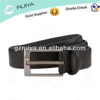 The Simple Stylish Leather Black Mens Belt in Mat Silver Pin Buckle