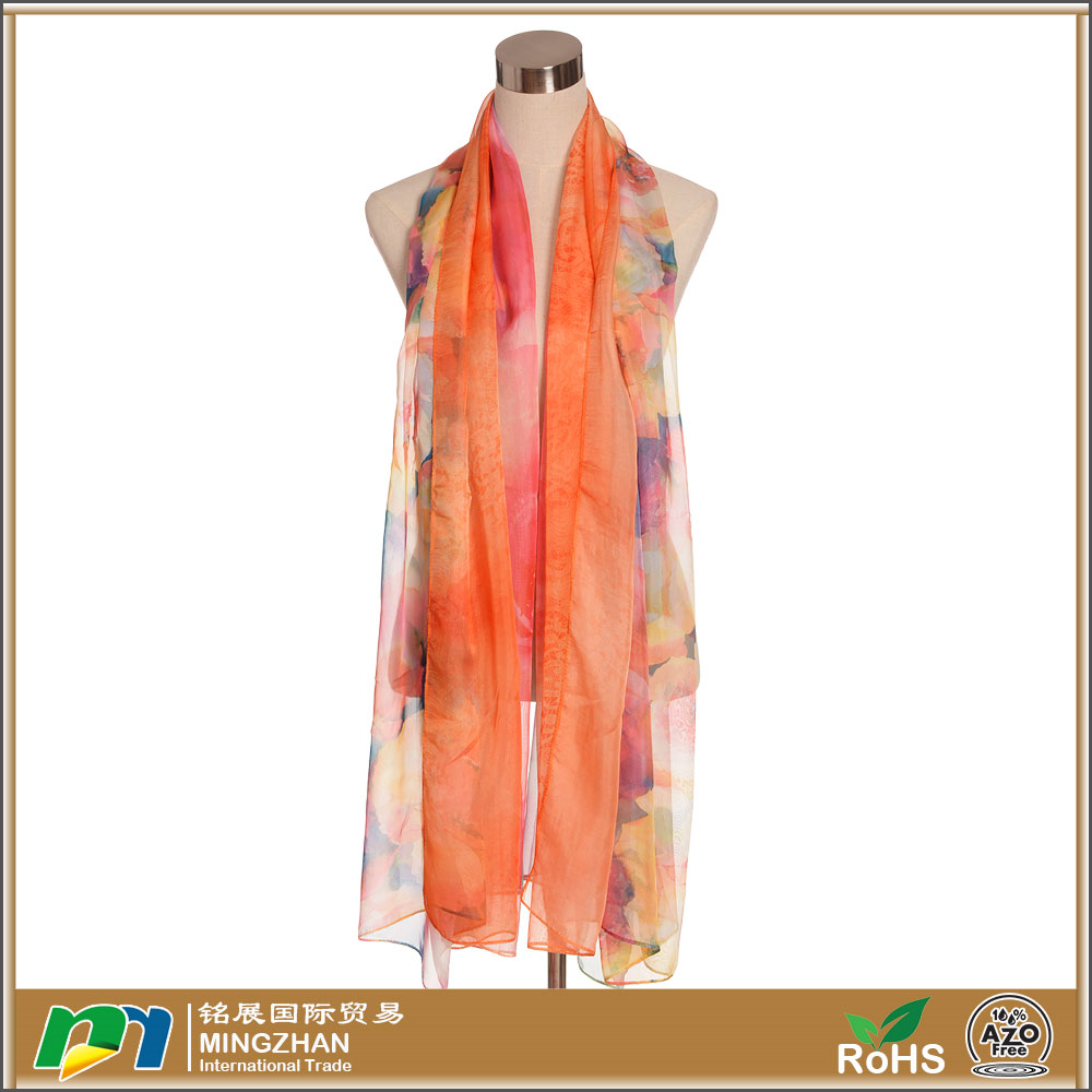 Fashionable floral printed long silk chiffon summer orange scarves sale