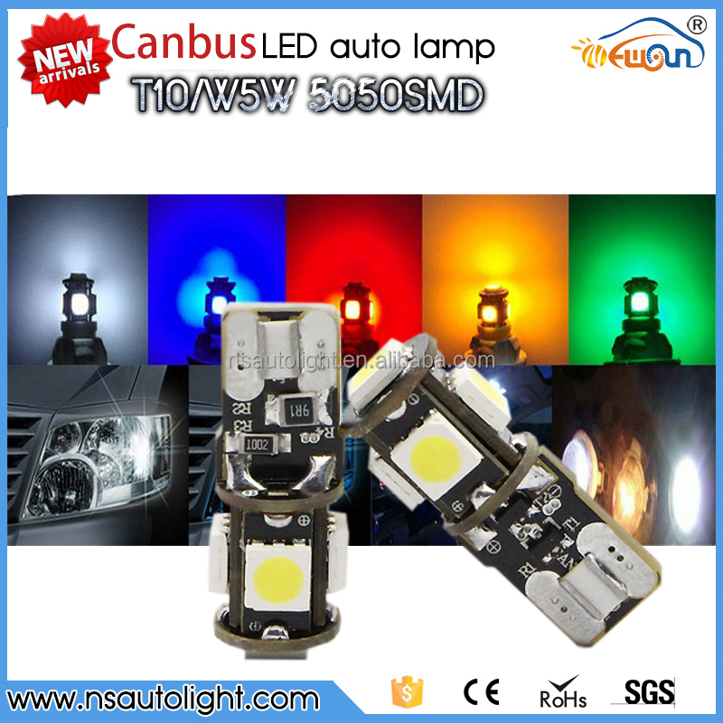 Quality product!Wholesale Canbus T10 5smd 5050 LED car led Light Canbus W5W 194 5050 SMD Error Free White Light Bulbs