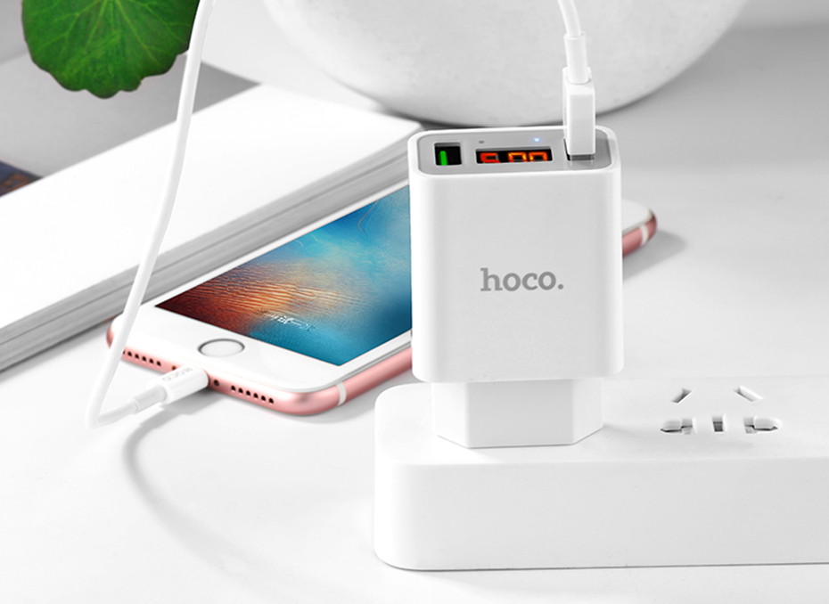 HOCO 5V 3A 2 3 Ports USB Wall Fast Charging Charger US EU Plug Power LED display Adapter For iPhone Samsung Device Mobile Phone