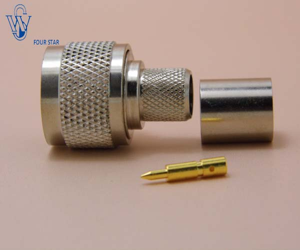 N male plug crimp connector for RG8 cable