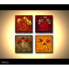 Handmade Modern Group Palette knife impasto landscape Oil painting on canvas,small floral paintings