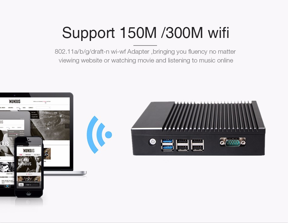 Fanless Intel n3160 NUC Small Form Factor industrial computer with COM port Dual Lan dual HD MI