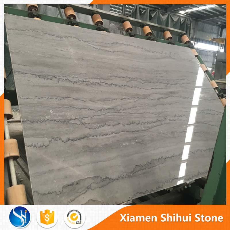 Polished Silver Grey Marble Slab with black vein