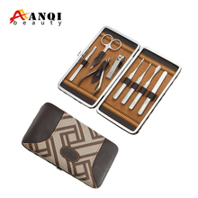 high quality stainless steel 8pcs ladies manicure set with PU case
