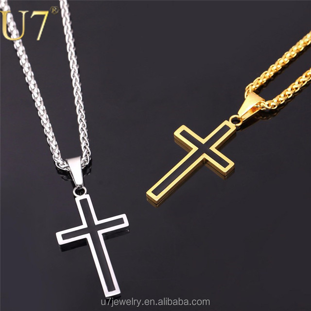 U7 Stainless Steel Chains 18K Real Gold Plated Vintage Enamel Latin Christian crucifix Cross Men Necklace