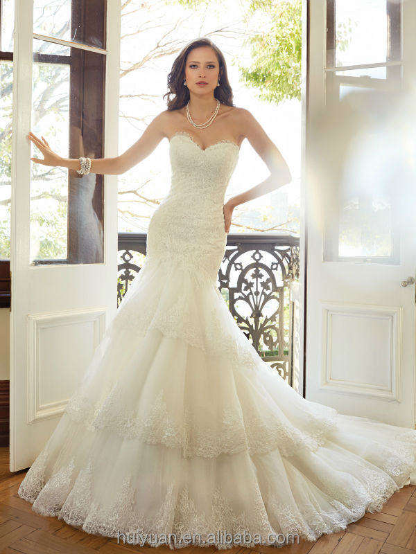 white lace layered sleeveless ball gown front slit wedding dress