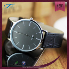 fashion 2 hands ultra-thin unisex stainless steel watch with black leather bands or other color leather bands