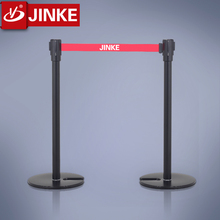 Portable Weighted Base Stackable Stanchion Steel Metal Bollard with Retractable Belt