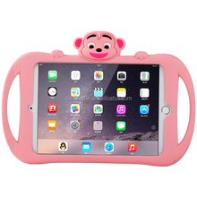 2017 Monkey case for iPad mini 1/2/3,cute animal case for iPad,shock-proof silicone tablet case with kickstand