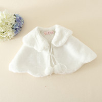 fashion baby white winter soft amice white fur cloak coat for children warm girls outerwear